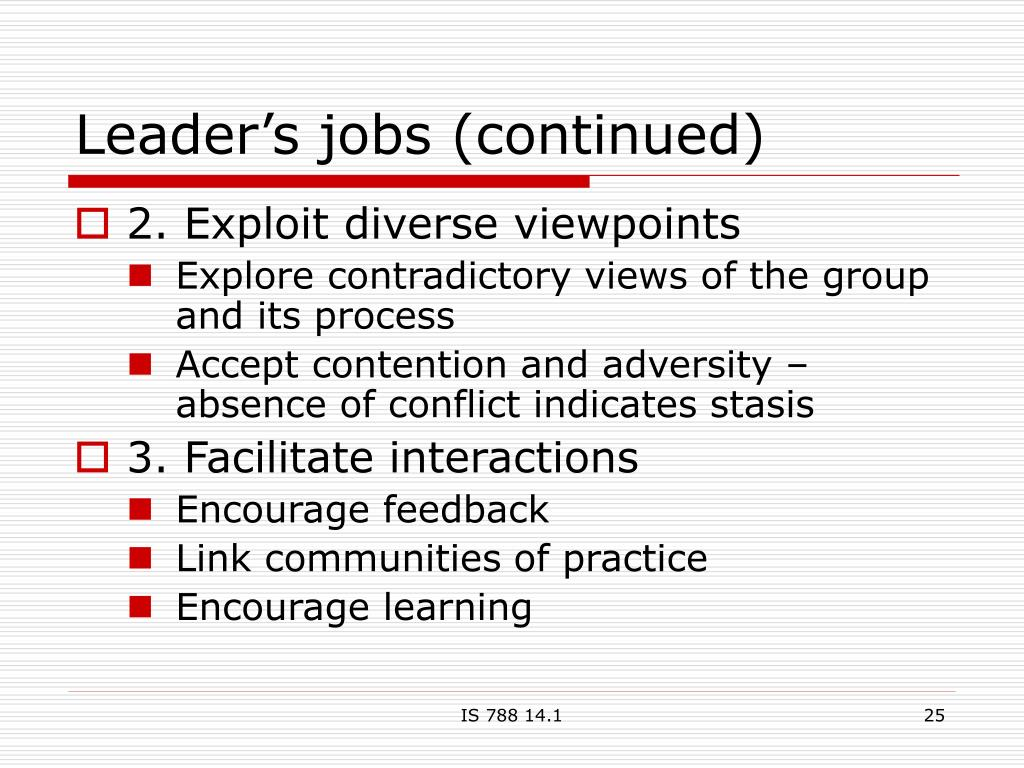 Leader's jobs (continued)