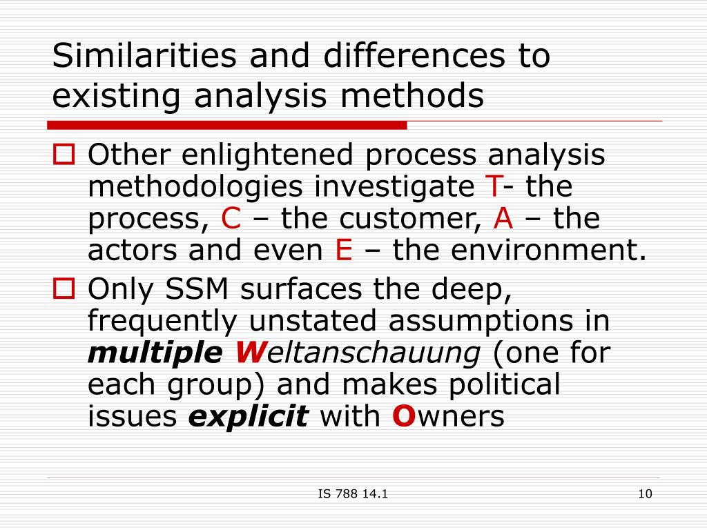 Similarities and differences to existing analysis methods