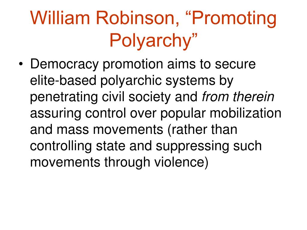"William Robinson, ""Promoting Polyarchy"""
