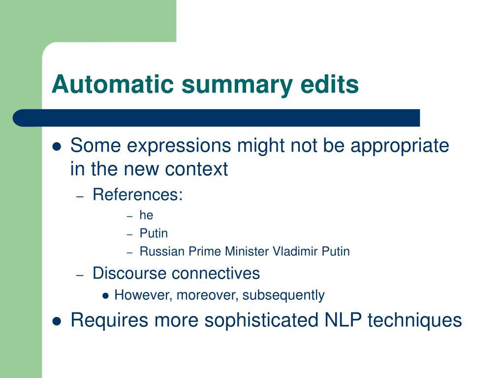Automatic summary edits