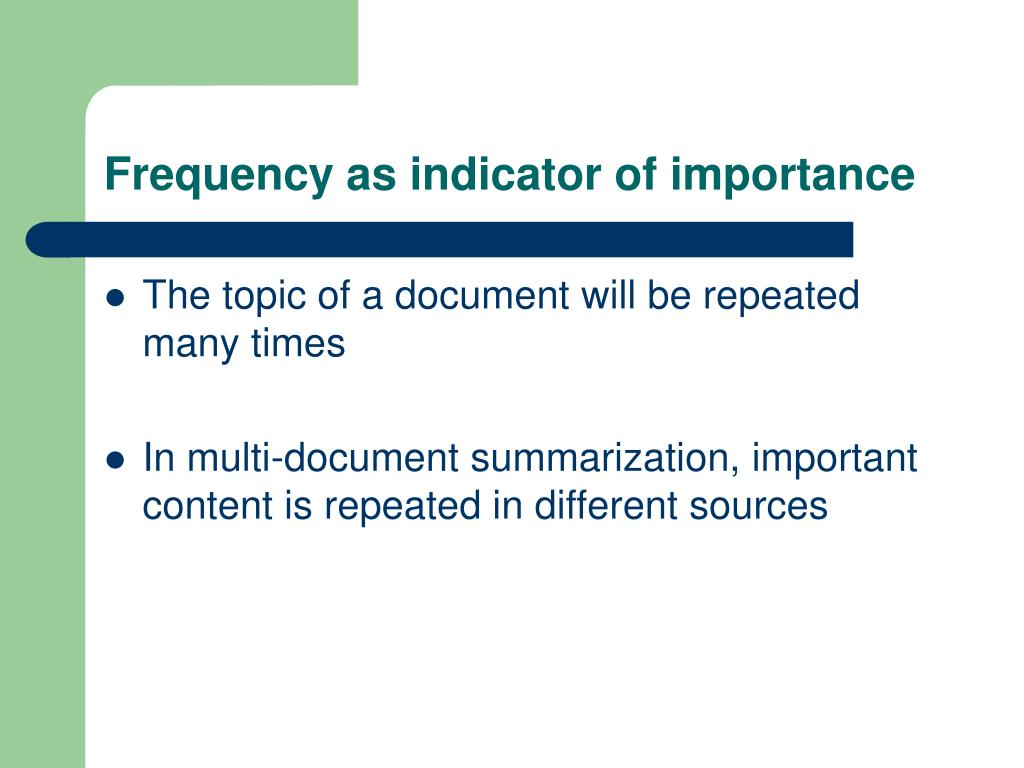 Frequency as indicator of importance