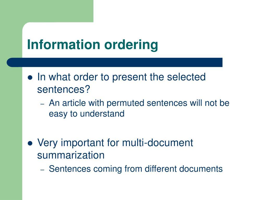 Information ordering