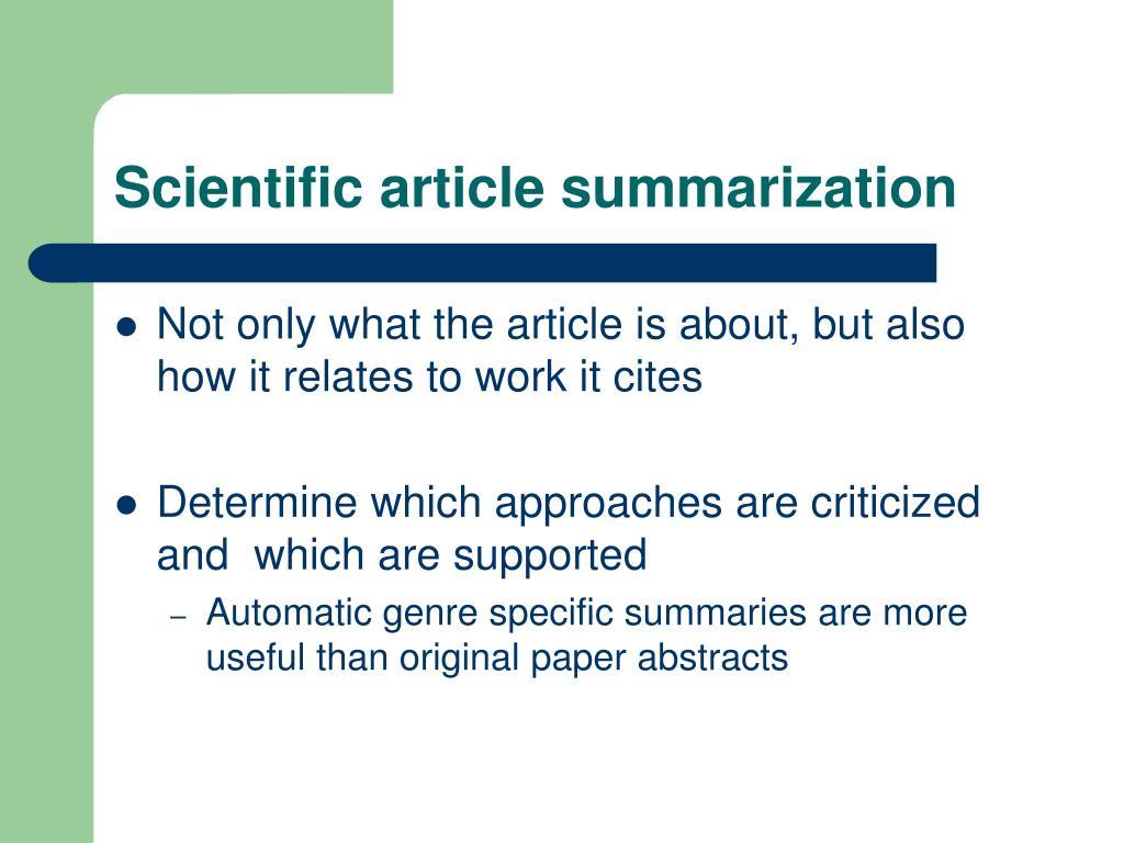 Scientific article summarization