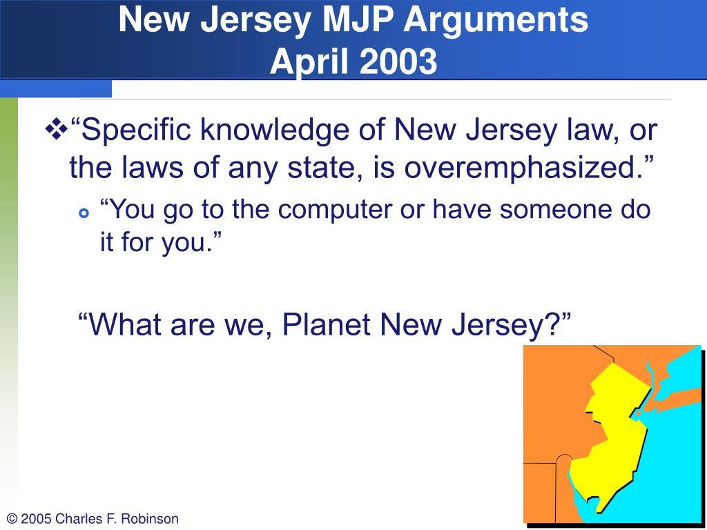 New Jersey MJP Arguments
