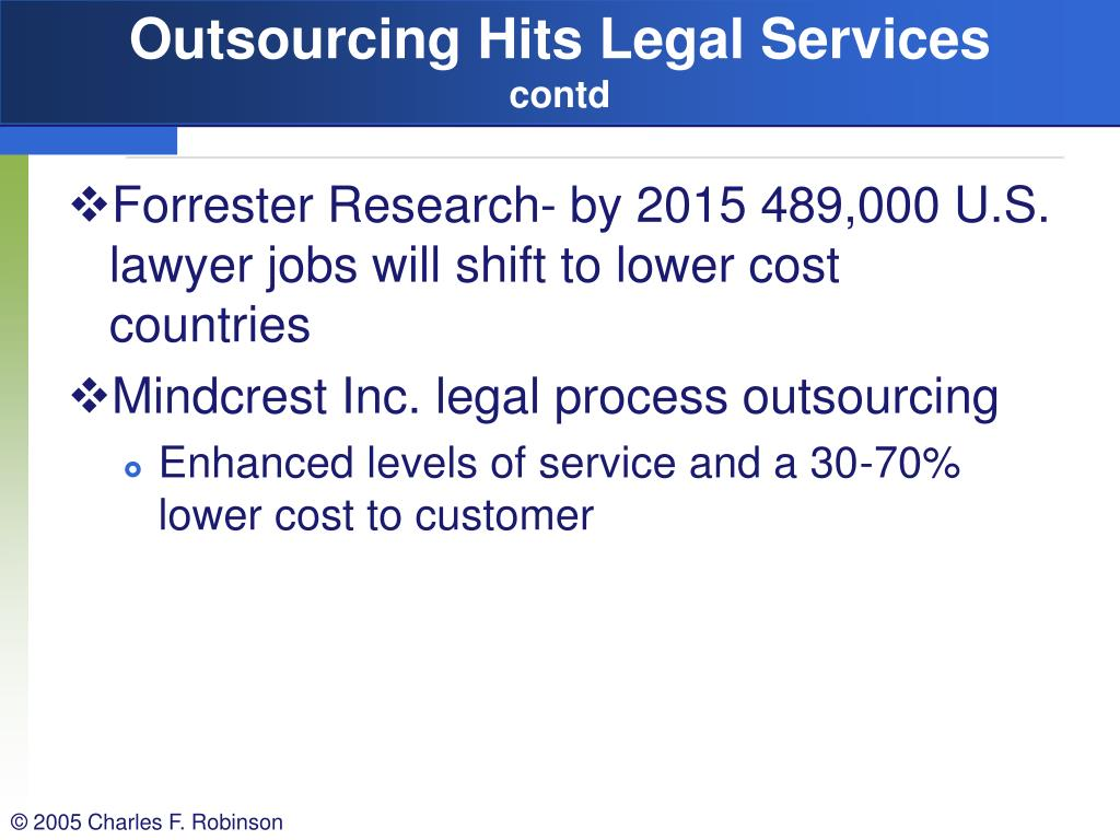 Outsourcing Hits Legal Services