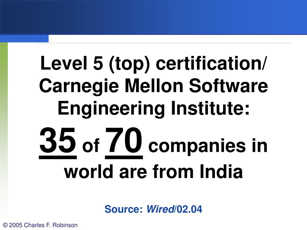 Level 5 (top) certification/