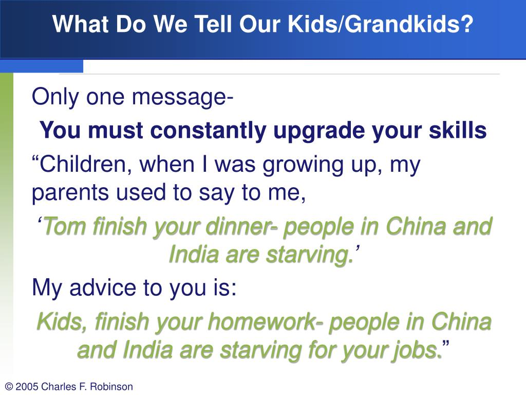 What Do We Tell Our Kids/Grandkids?