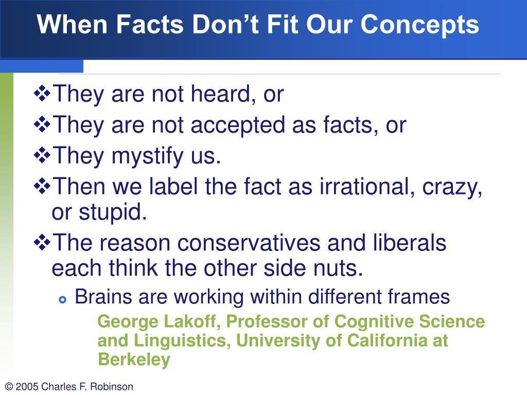 When Facts Don't Fit Our Concepts