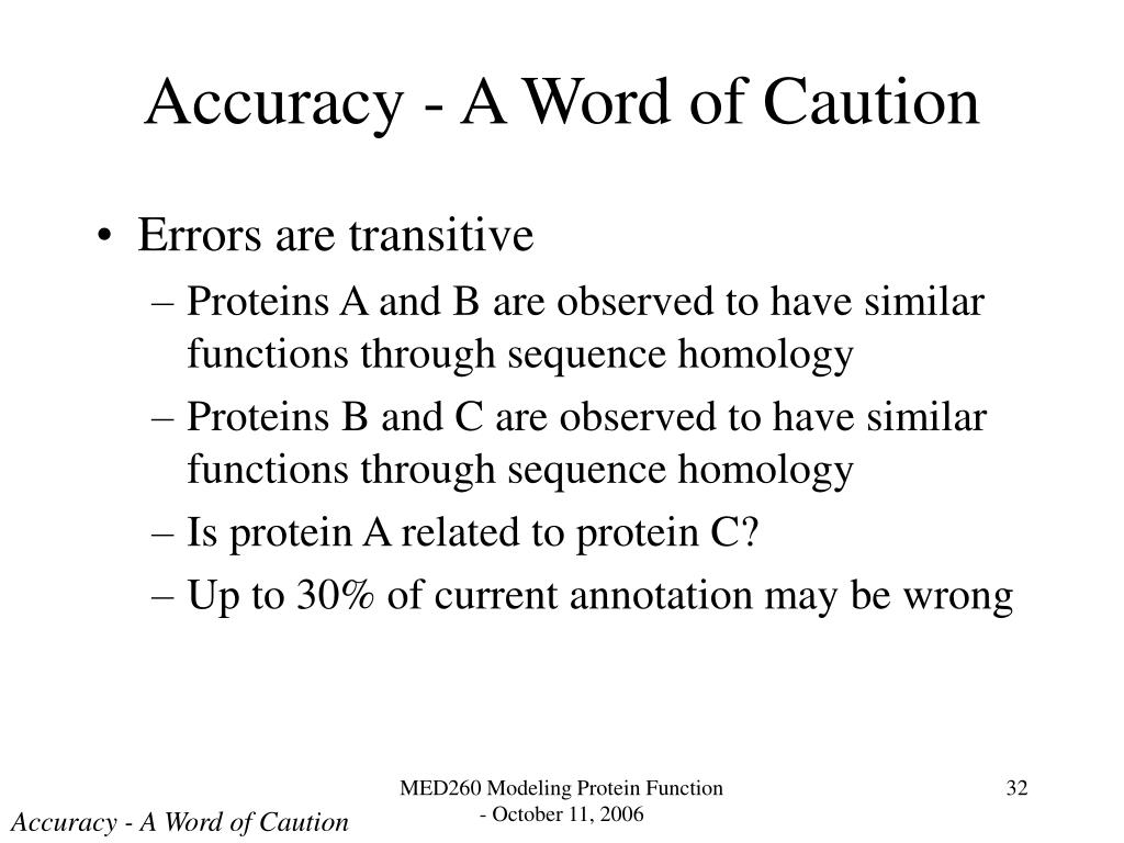 Accuracy - A Word of Caution