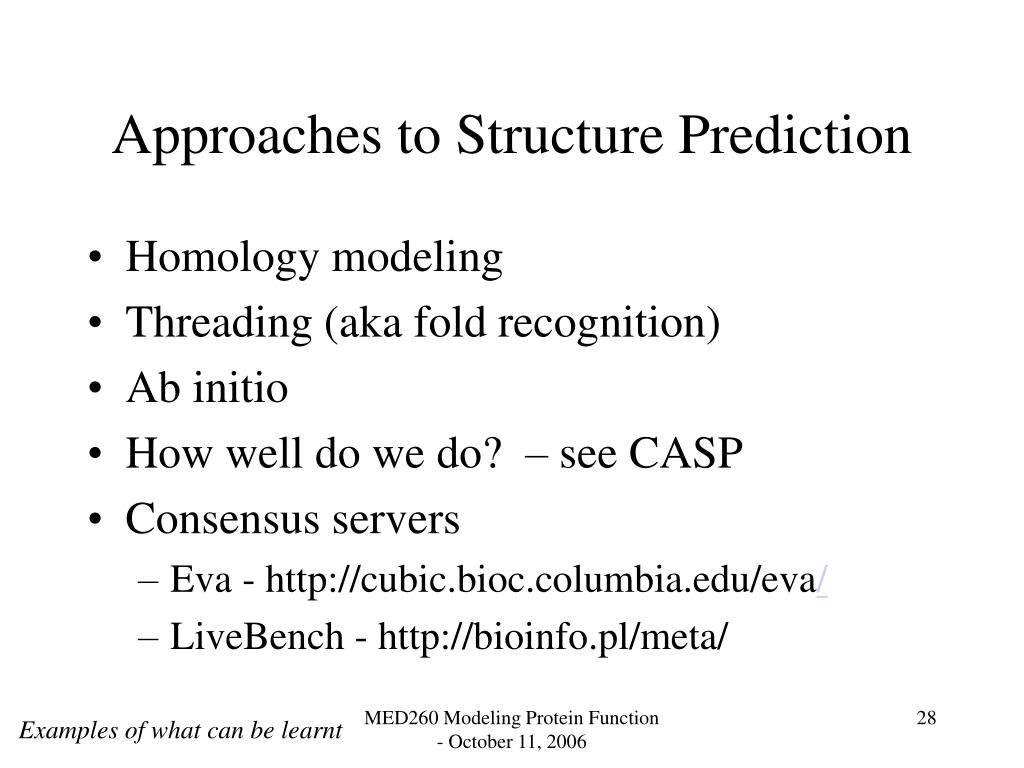Approaches to Structure Prediction