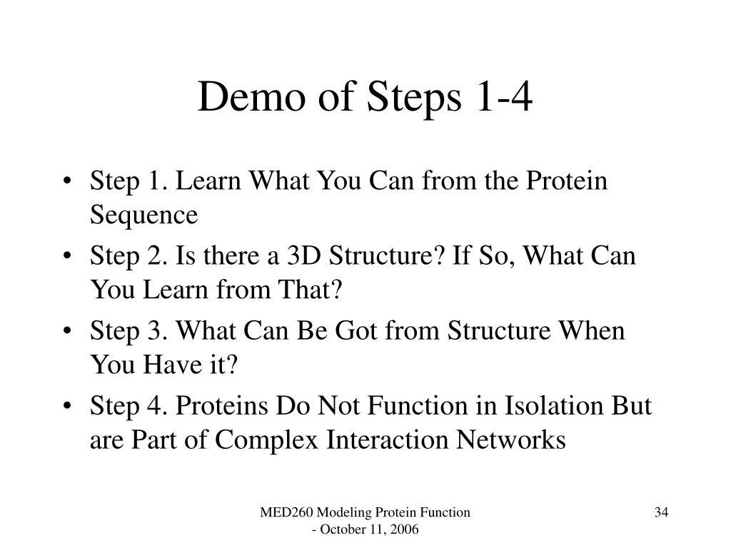 Demo of Steps 1-4