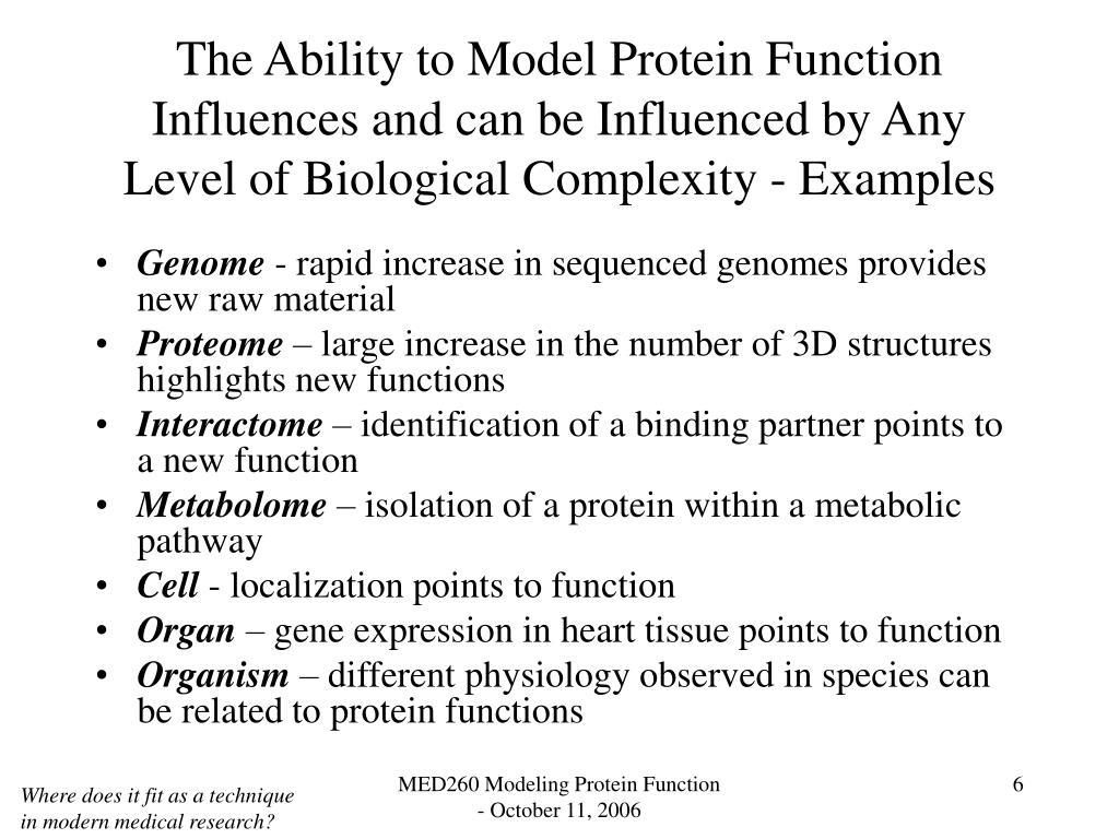 The Ability to Model Protein Function Influences and can be Influenced by Any Level of Biological Complexity - Examples