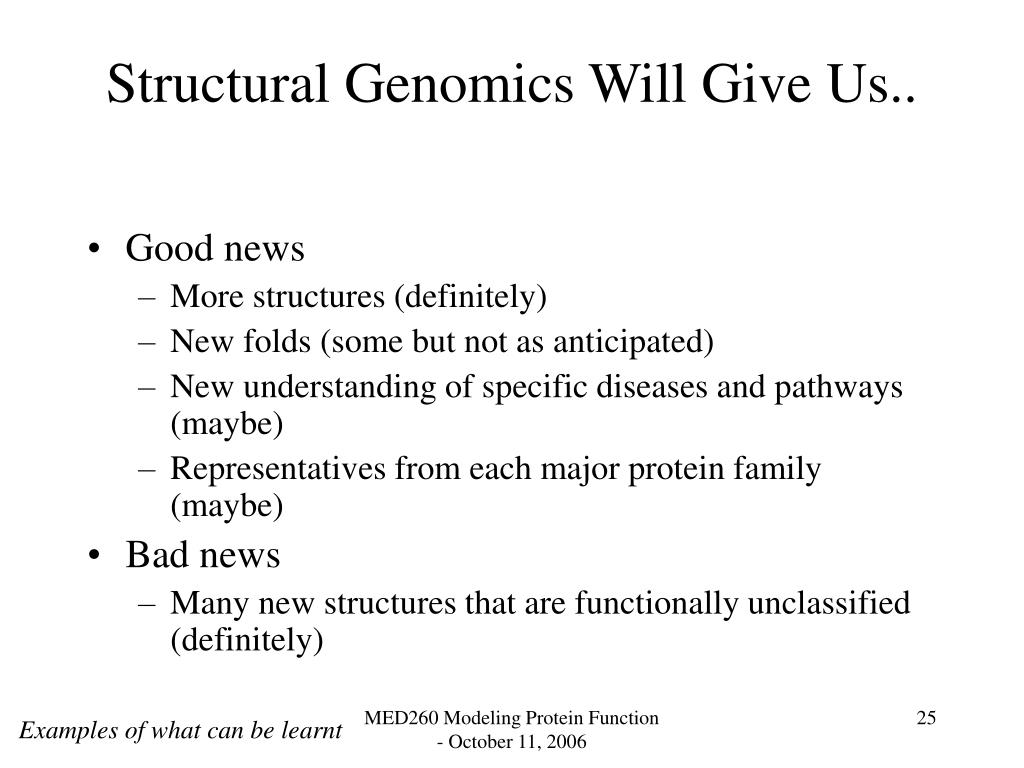 Structural Genomics Will Give Us..