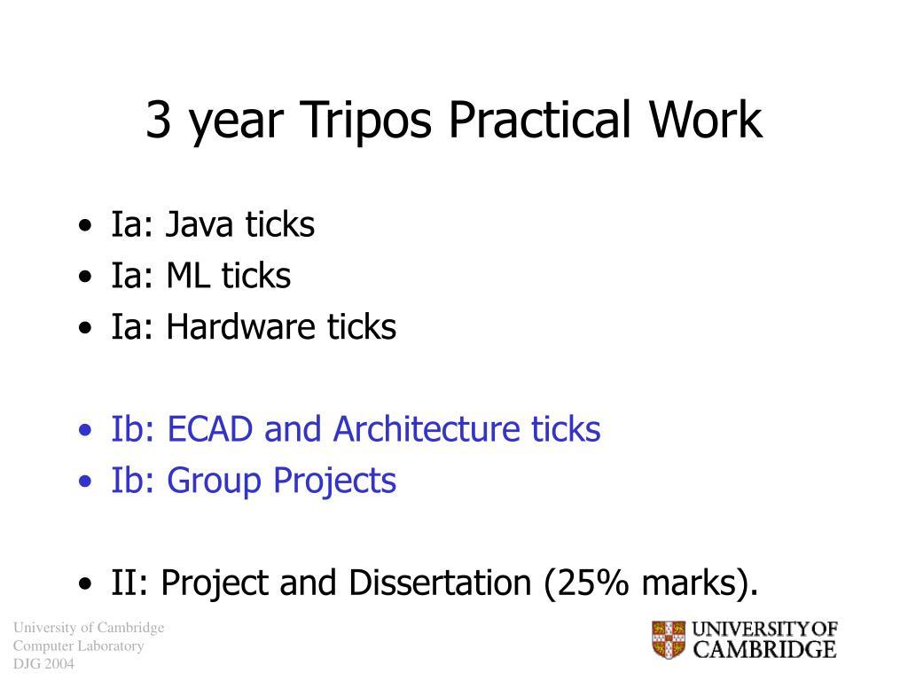 3 year Tripos Practical Work