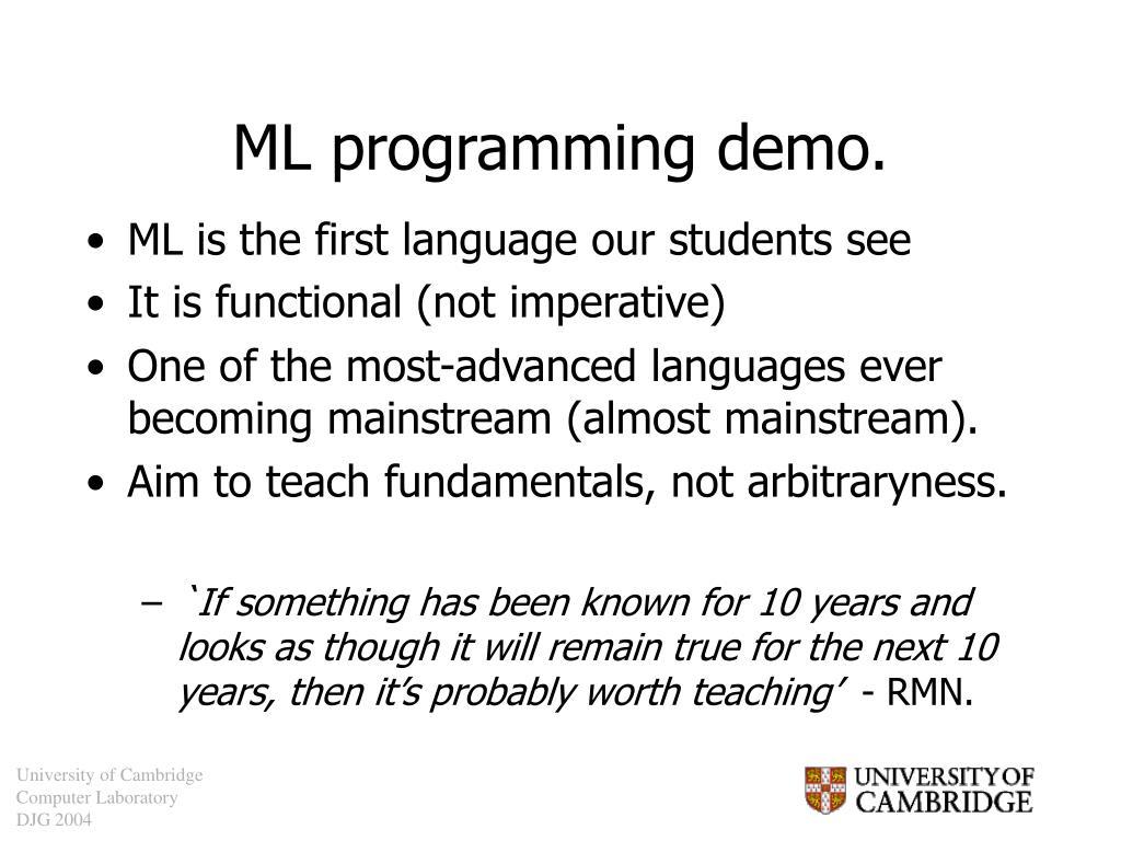 ML programming demo.