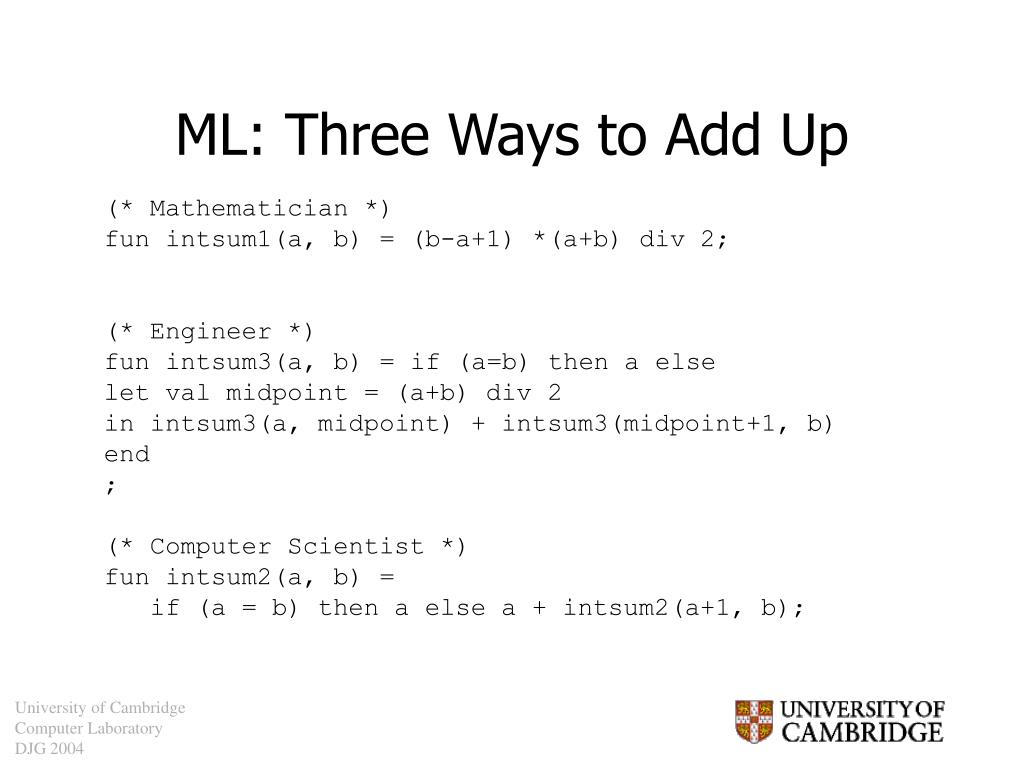 ML: Three Ways to Add Up