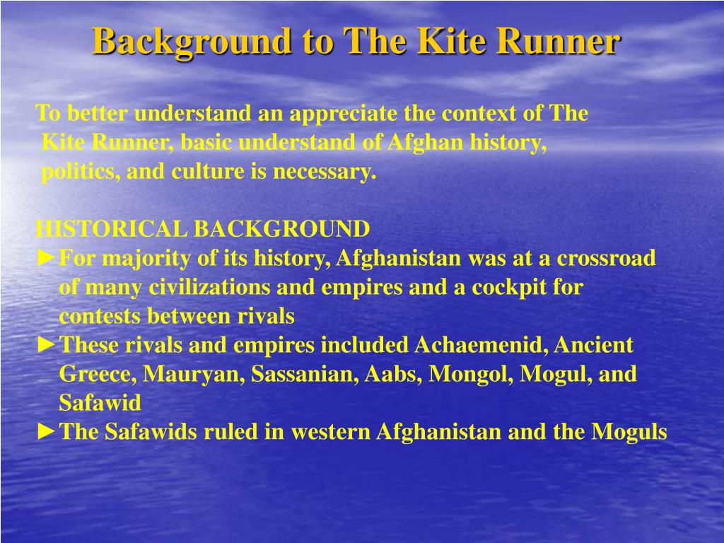 Background to The Kite Runner
