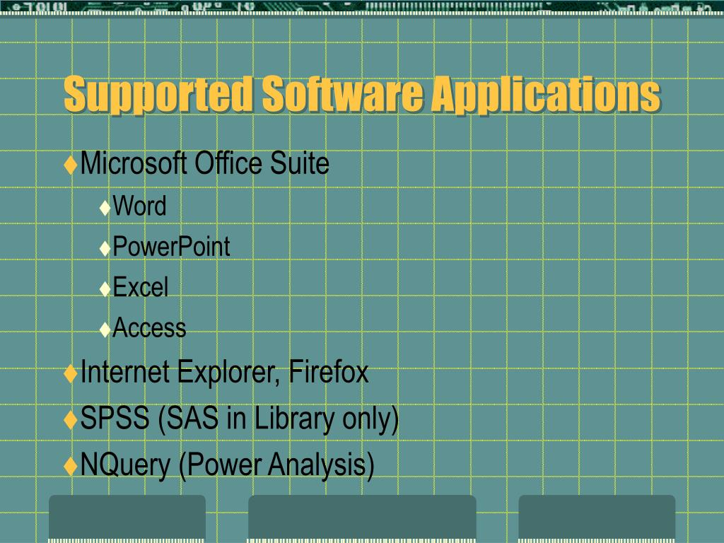 Supported Software Applications