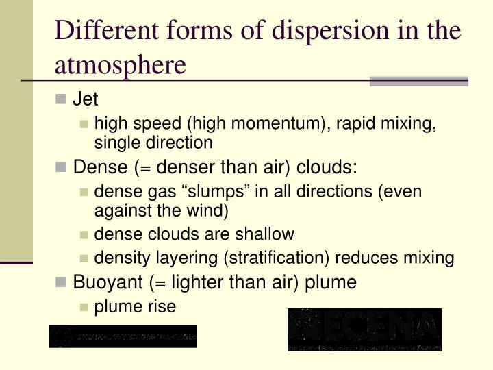 Different forms of dispersion in the atmosphere