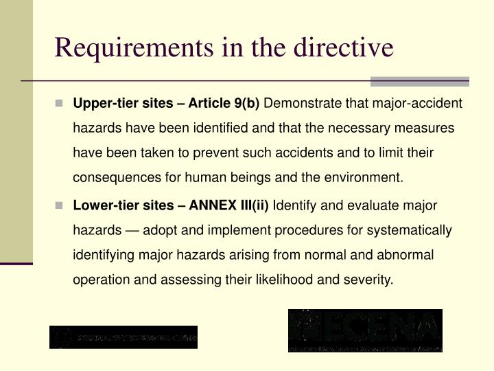 Requirements in the directive