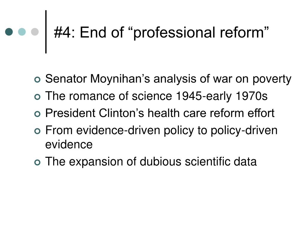 """#4: End of """"professional reform"""""""