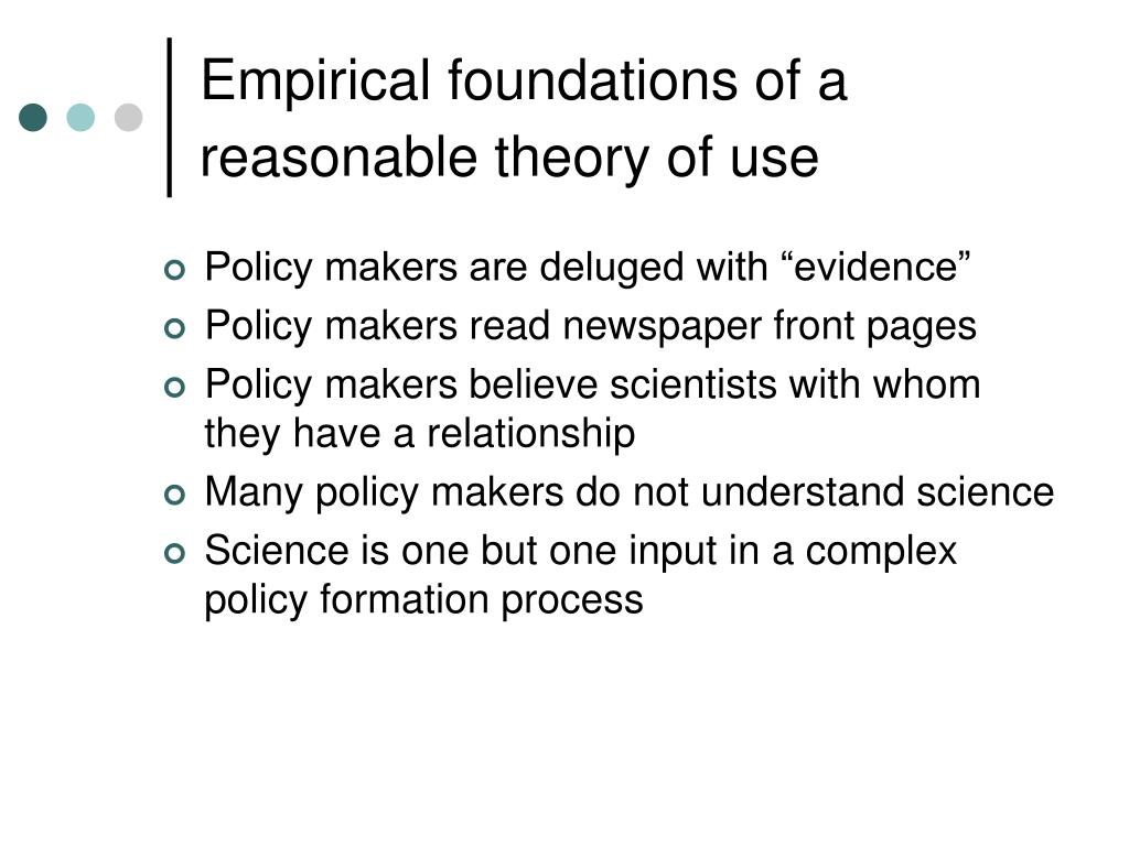 Empirical foundations of a reasonable theory of use