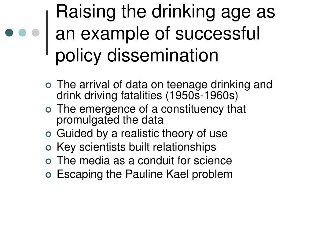 Raising the drinking age as an example of successful policy dissemination