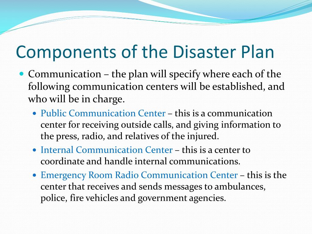 Components of the Disaster Plan