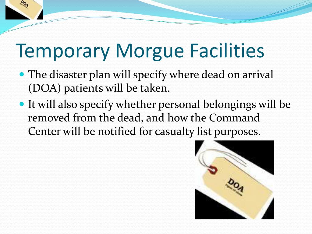 Temporary Morgue Facilities