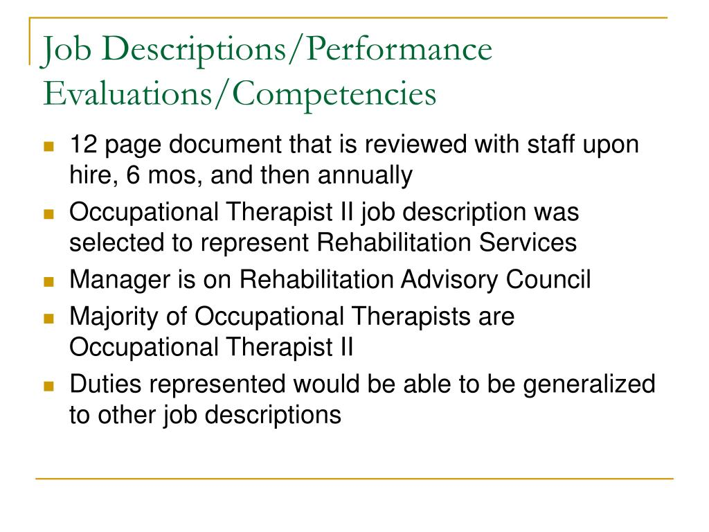 Job Descriptions/Performance Evaluations/Competencies