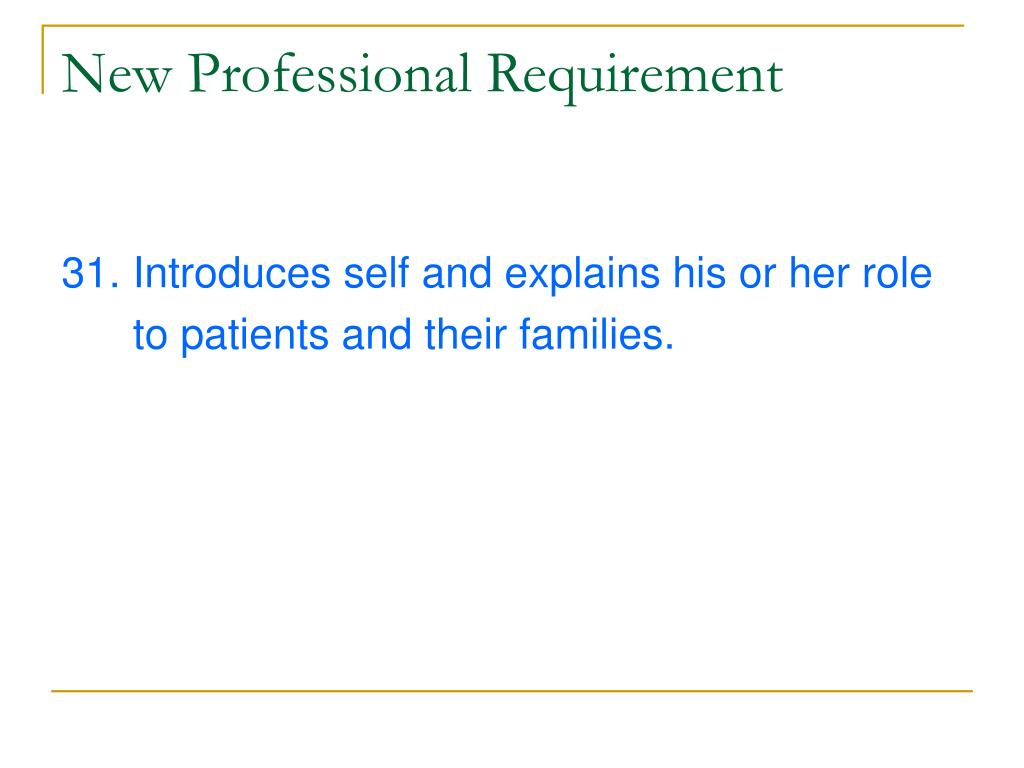 New Professional Requirement