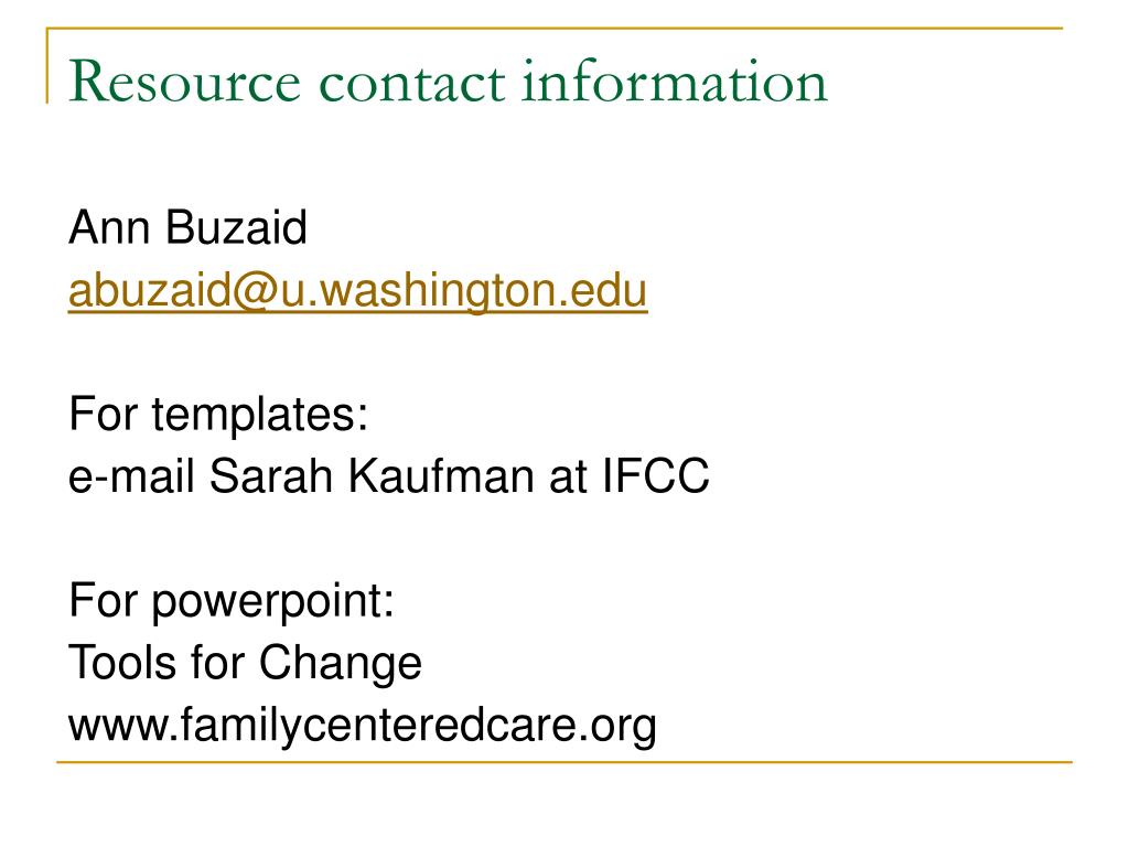 Resource contact information