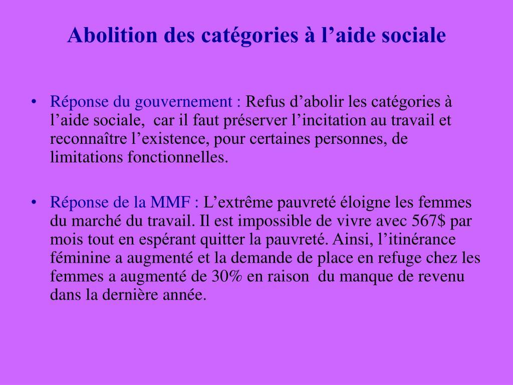 Abolition des catégories à l'aide sociale