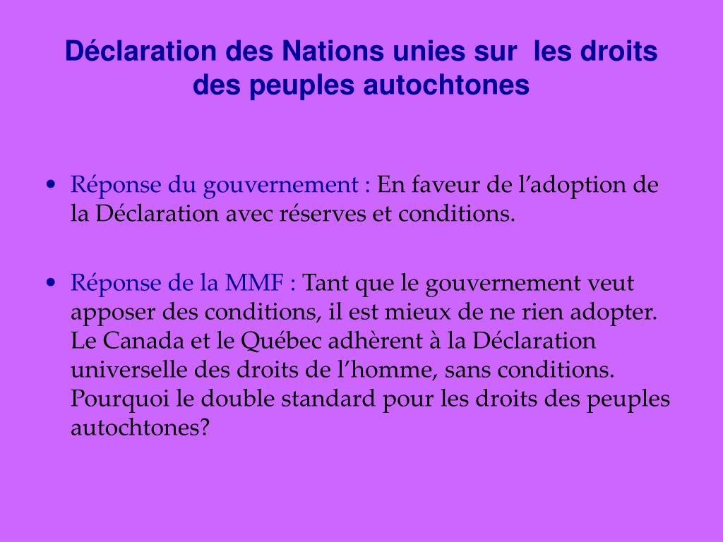 Déclaration des Nations unies sur  les droits des peuples autochtones