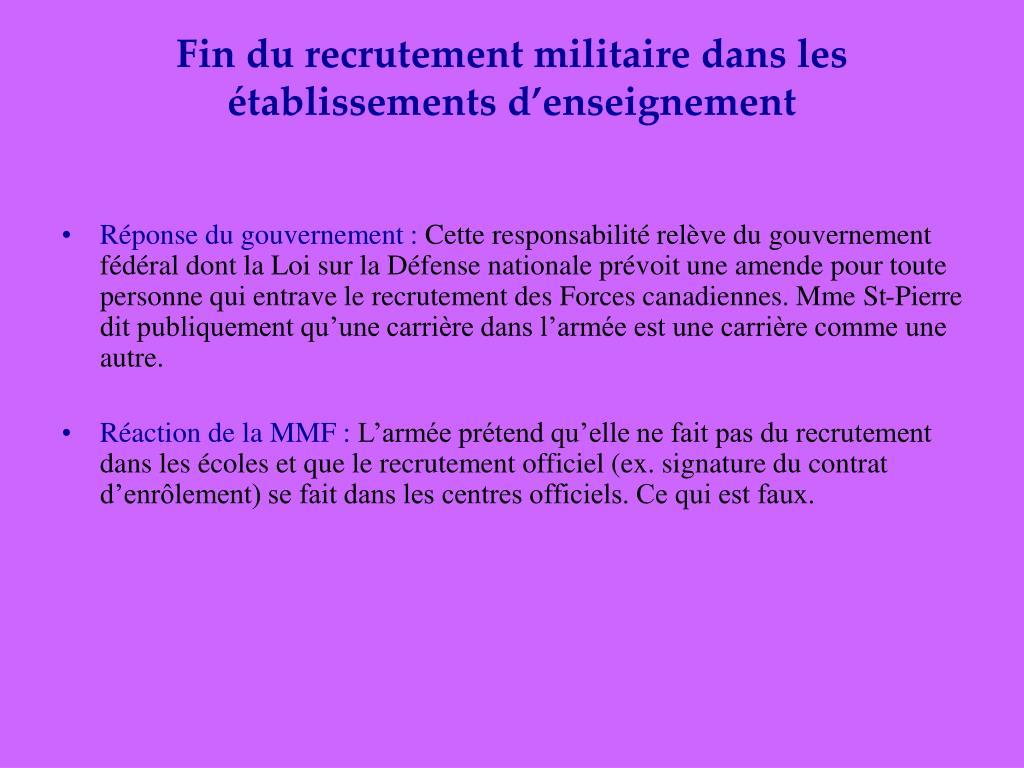 Fin du recrutement militaire dans les établissements d'enseignement