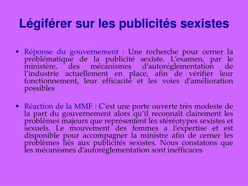 Légiférer sur les publicités sexistes