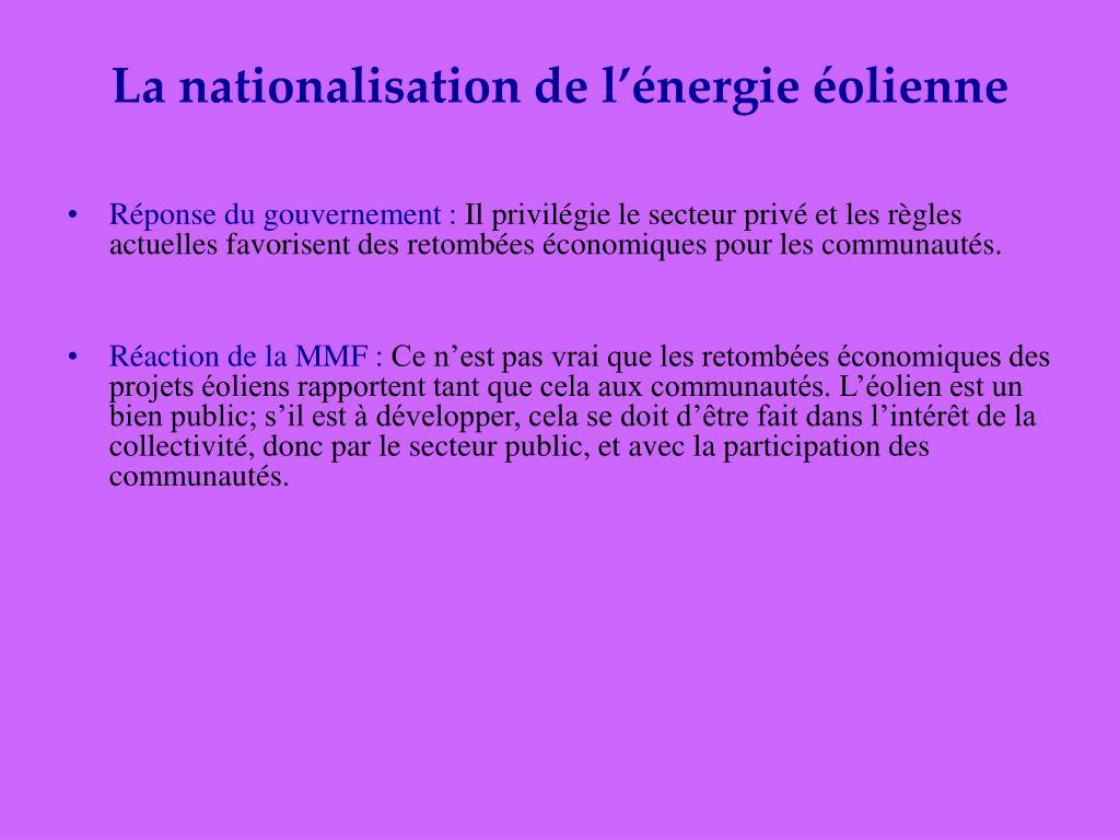 La nationalisation de l'énergie éolienne