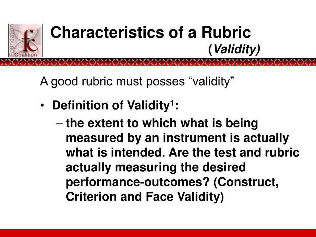 Characteristics of a Rubric