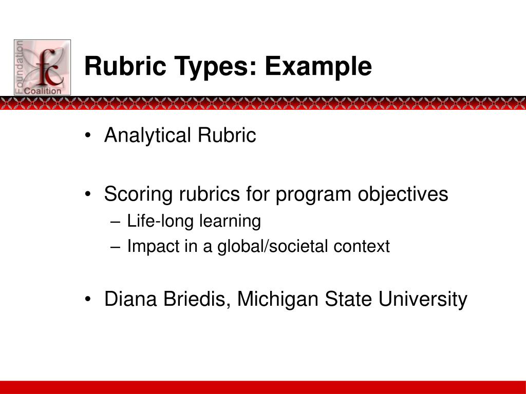 Rubric Types: Example