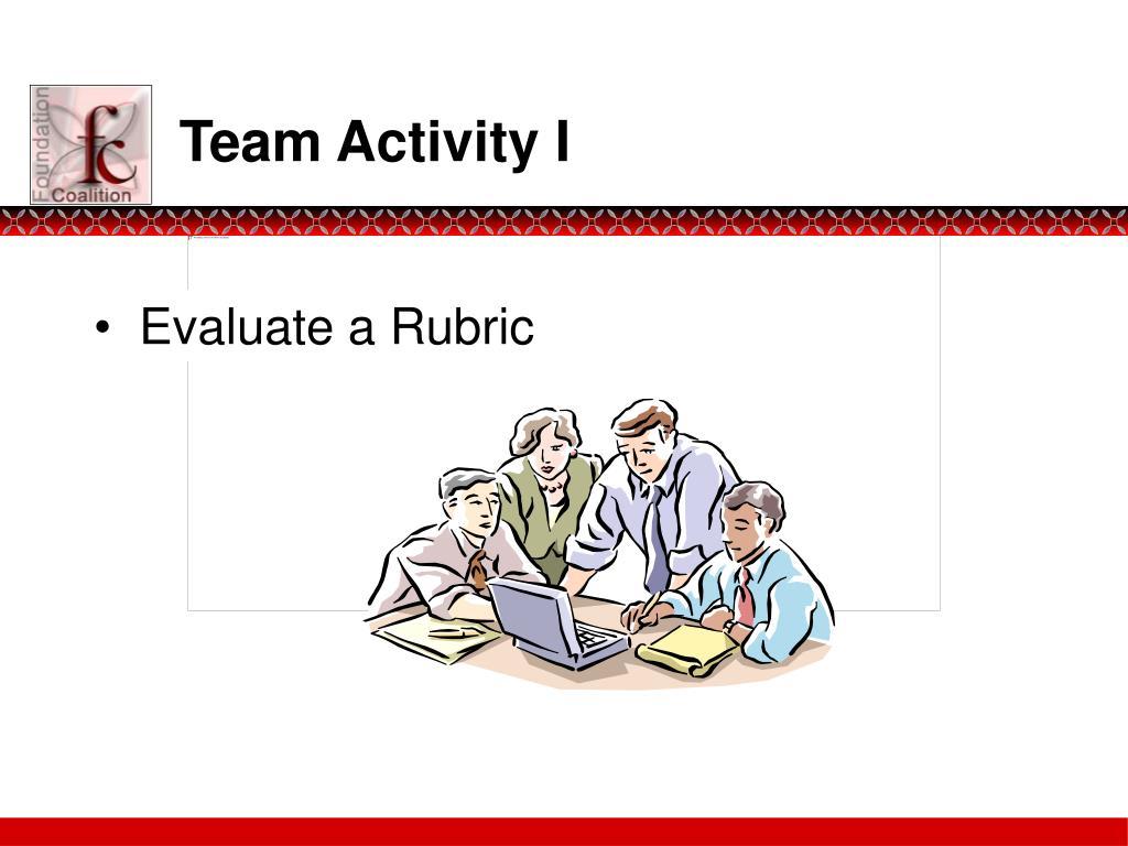 Team Activity I