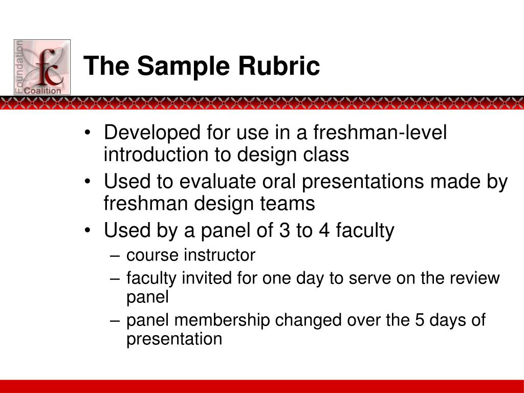 The Sample Rubric