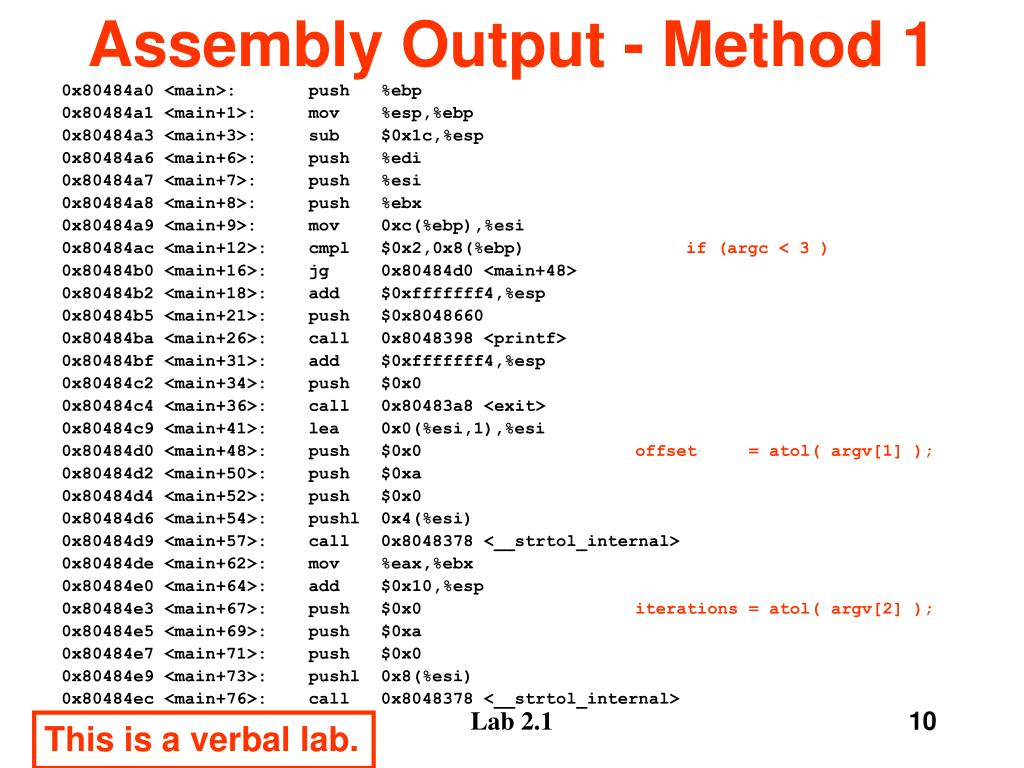 Assembly Output - Method 1