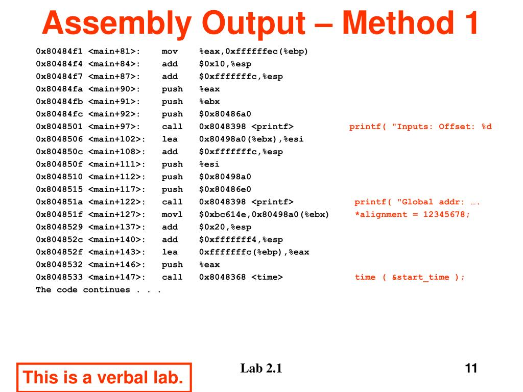 Assembly Output – Method 1
