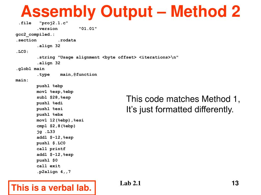 Assembly Output – Method 2