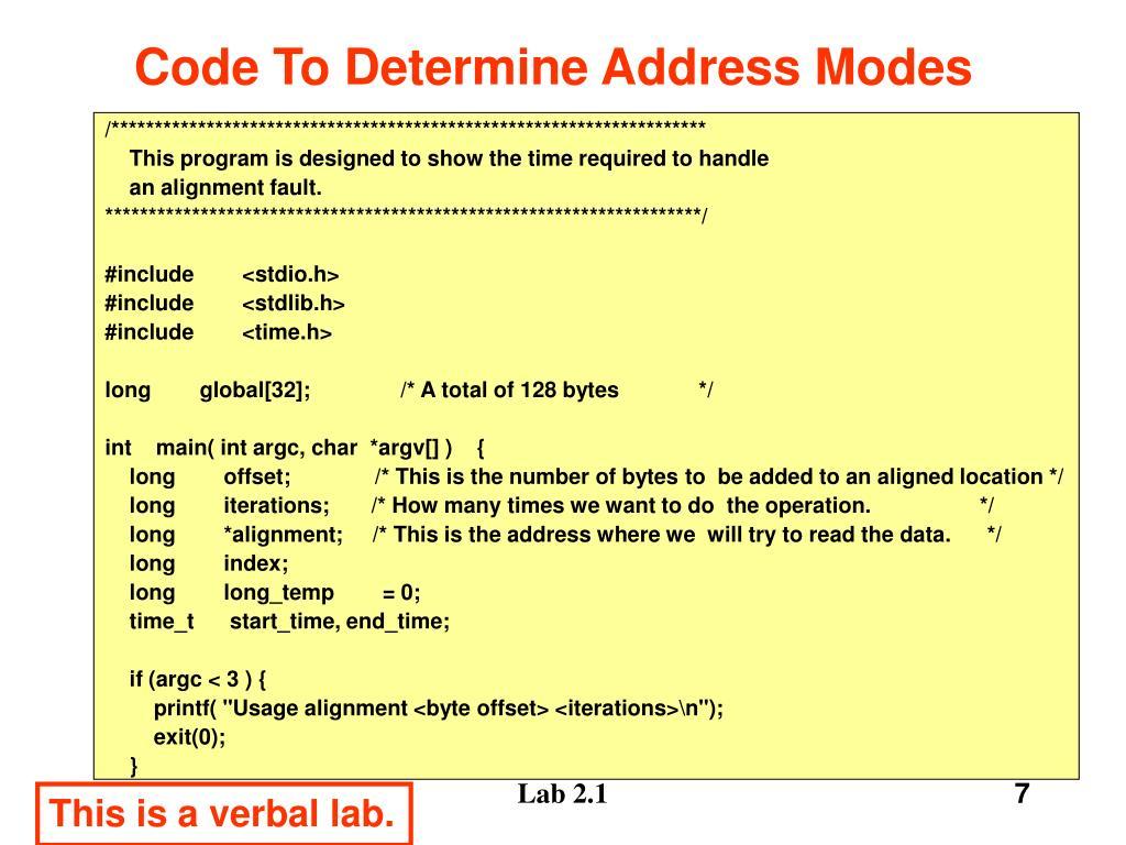 Code To Determine Address Modes