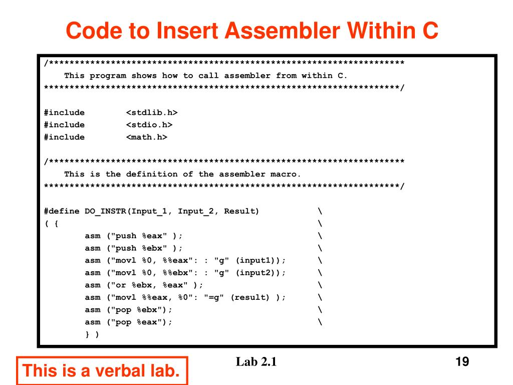 Code to Insert Assembler Within C