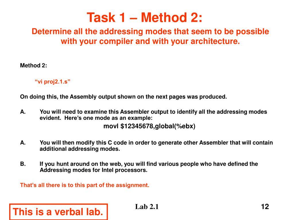 Task 1 – Method 2: