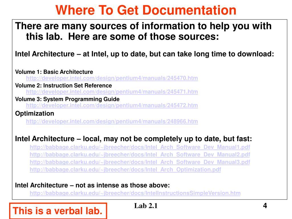 Where To Get Documentation