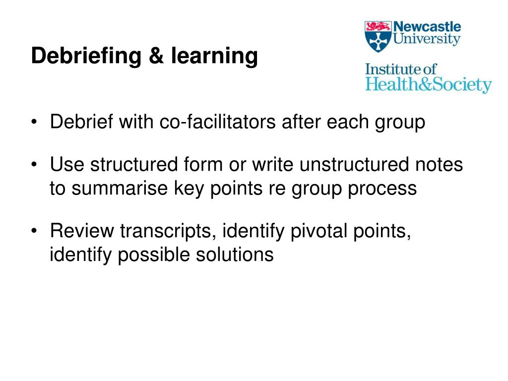 Debriefing & learning