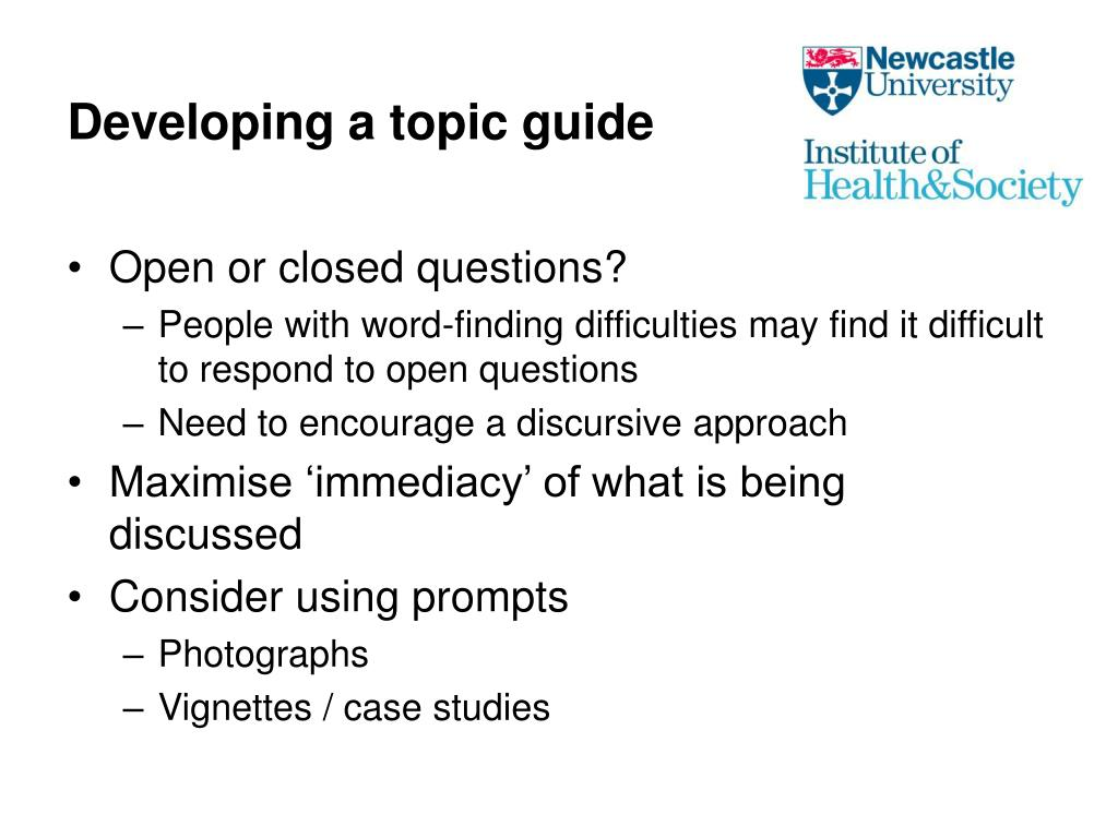 Developing a topic guide